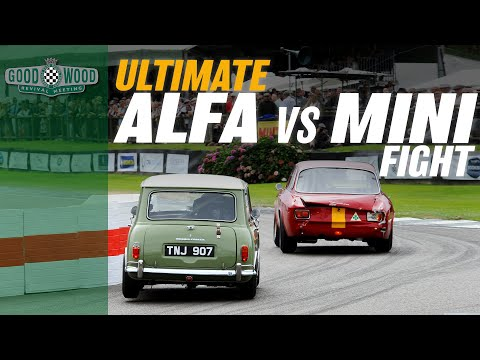 Ridiculous Mini v Alfa GTA track battle at Goodwood