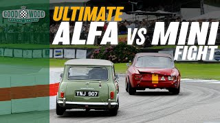 Ridiculous Mini v Alfa GTA track battle at Goodwood