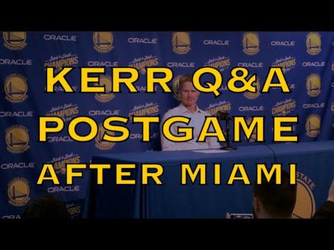 """Entire KERR postgame: Durant & Klay """"carried us"""", Miami Heat """"rebound after rebound"""", Jonas Jerebko"""