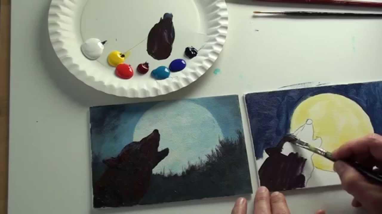 10minutenmalerei wolf vor vollmond  youtube
