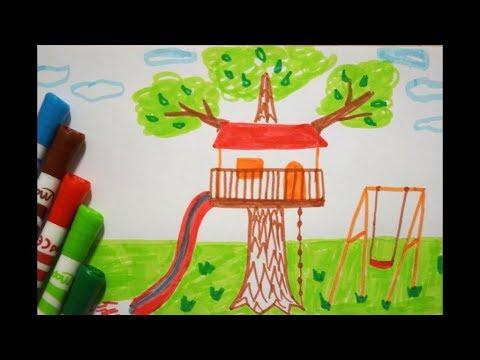 Baum Haus Zeichnen Mit Schaukel How To Draw A Tree House Park