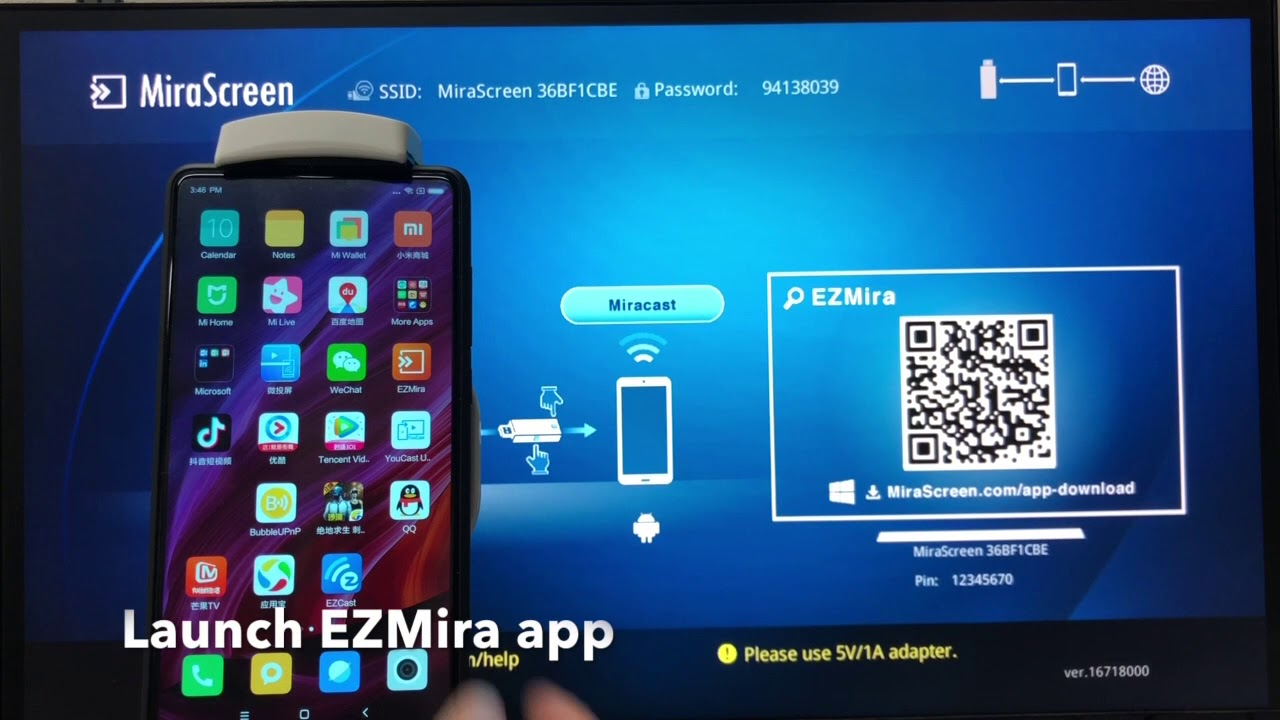 MiraScreen Wireless Android miracast mirroring and streaming with EZMira