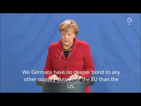 Thumbnail: German Chancellor Angela Merkel reacts to Donald Trump as elected President (english subtitles)
