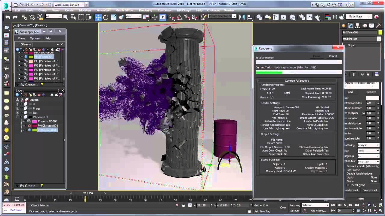 Using phoenix fd to create dust and fine debris 3dsmax | 3ds max.