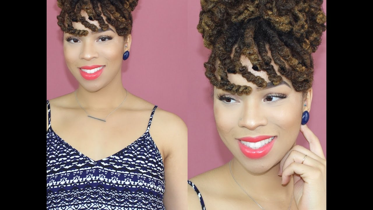 curly loc bun with faux bangs