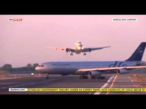 Thumbnail: Near miss - Footage shows two planes almost colliding at barcelona airport