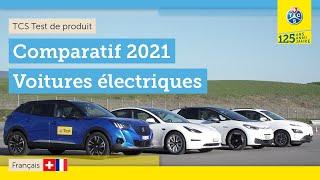 Comparatif de quatre véhicule électriques: Tesla, Peugeot, VW, Hyundai