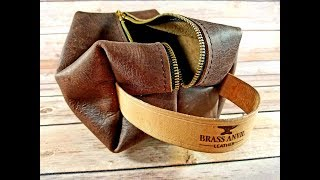 Making a leather shaving kit bag