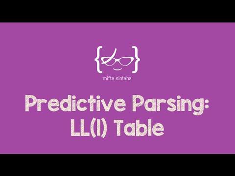 Predictive Parsing: LL(1) Table