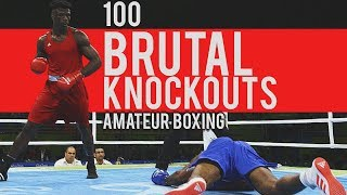 100 BRUTAL Amateur Boxing Knockouts