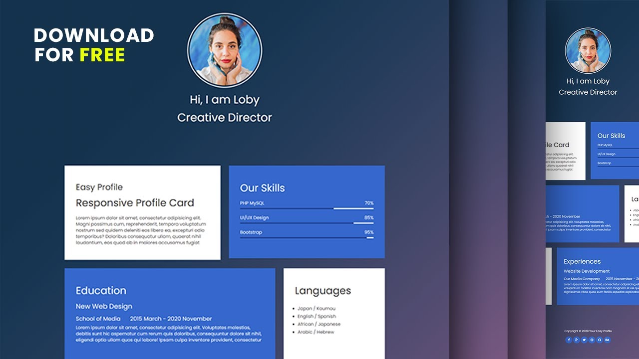 How to Create CV Resume using HTML, CSS Only - Source File download now