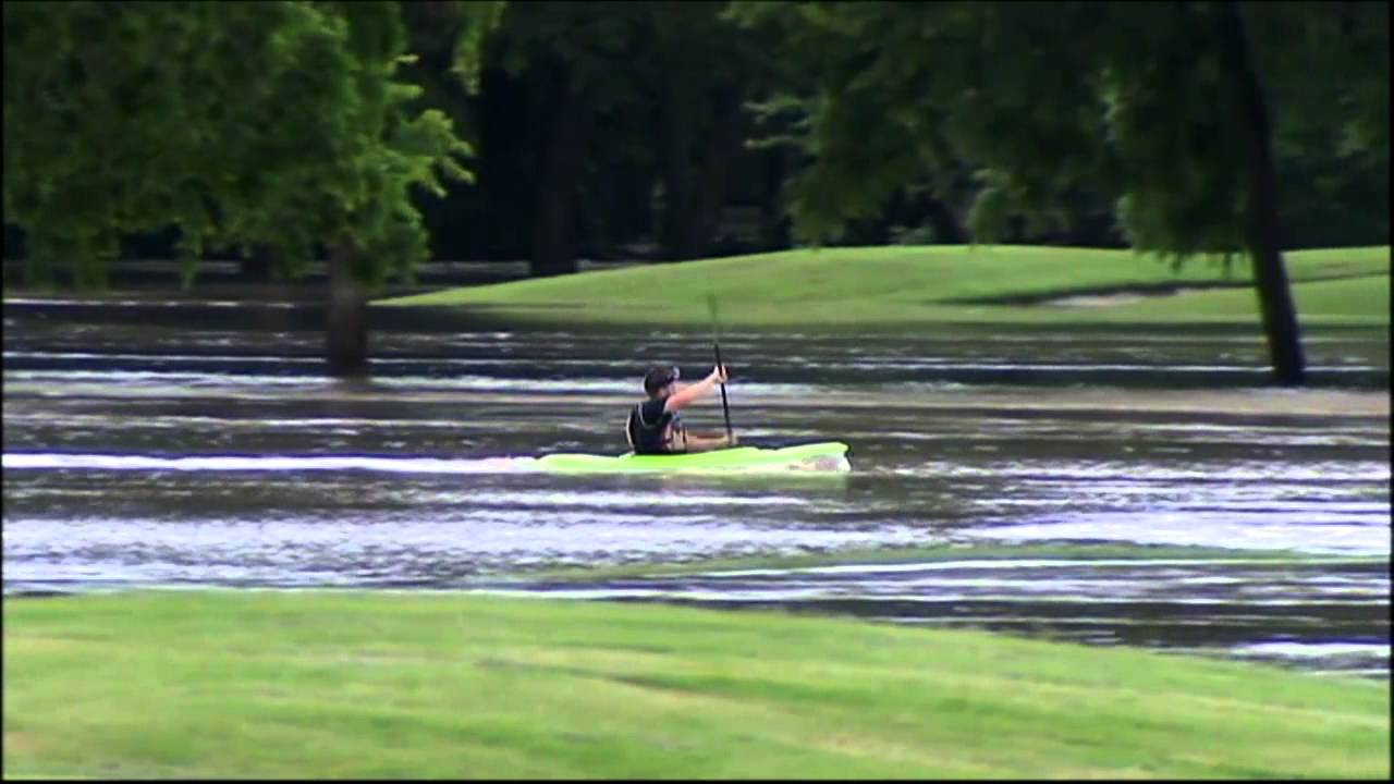 Why Garland >> Kayaking in flood waters at Garland golf course - YouTube