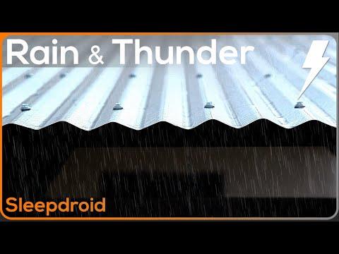 ►10 hours of Real Rain and Thunder on a Tin Roof. HD video, actual metal roof rain. Som da chuva