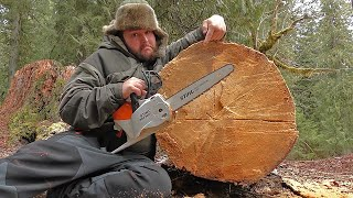Will this ELECTRIC CHAINSAW CUT THIS MASSIVE LOG?! Lithium Battery Powered Stihl MSA200 Saw TEST
