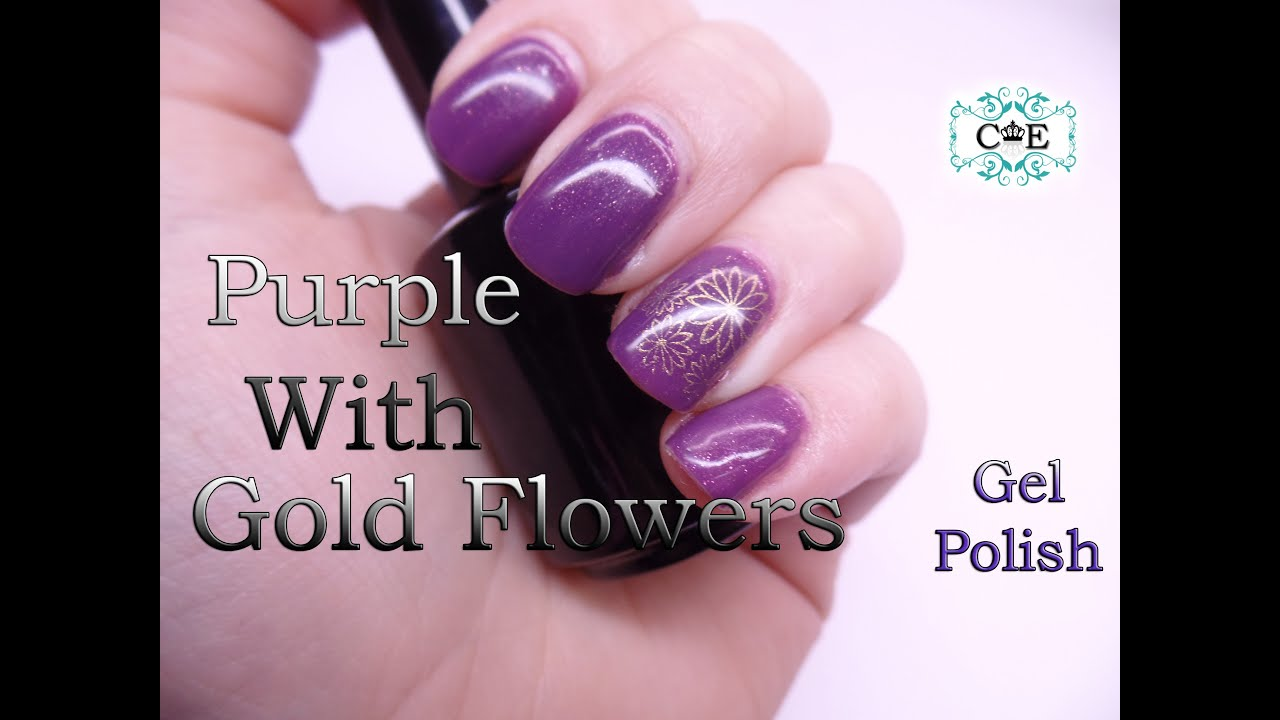 How to do purple gel nails with gold flower - YouTube