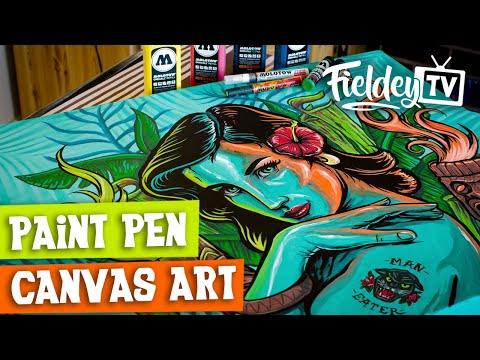 How to use paint markers and spray paint on a canvas | [Sub Español & English]