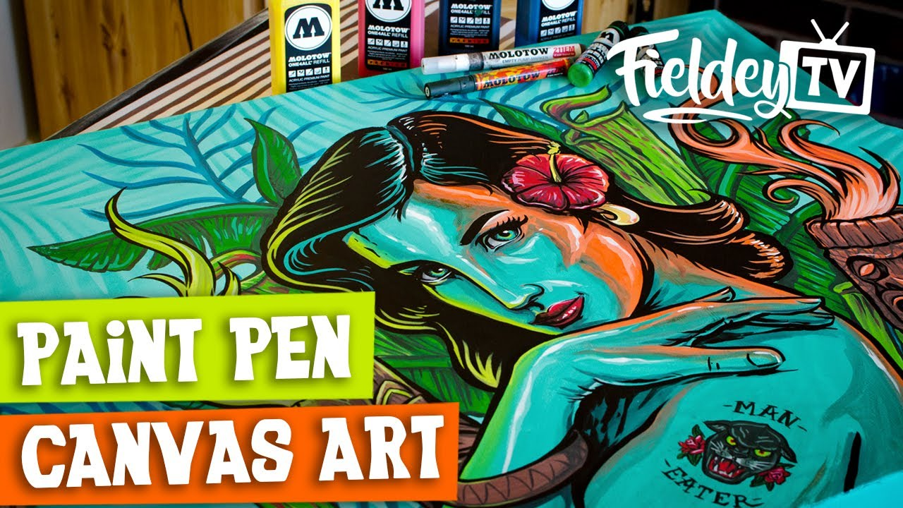 How To Use Paint Markers And Spray Paint On A Canvas Sub Espanol English