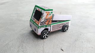 How to make a truck using matchbox   how to make Paper truck   cardboard craft   paper craft