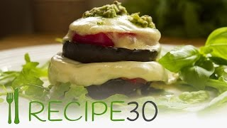 Melted cheese EGGPLANT STACK FLORENTINE - By RECIPE30.com