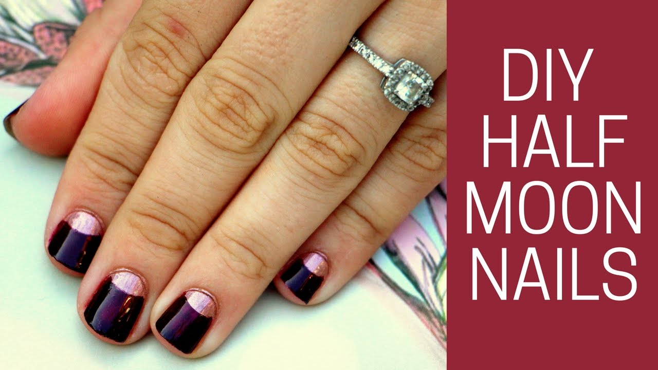 DIY Half Moon Manicure Nail Tutorial - YouTube
