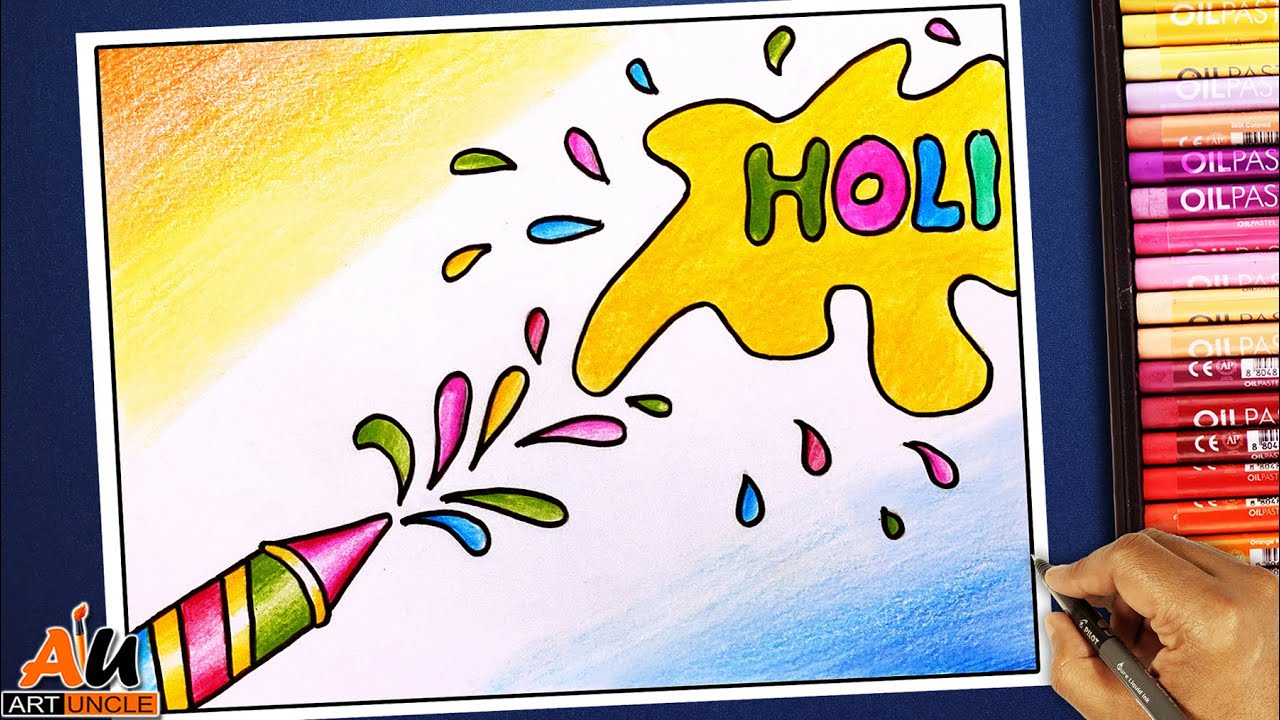 How To Draw Holi Festival Easy Drawing For Beginners Step By Step Youtube