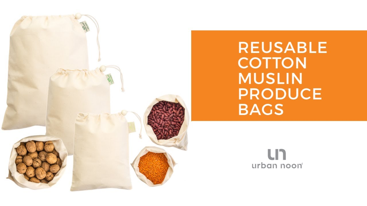 Reusable Cotton Muslin Produce Bags