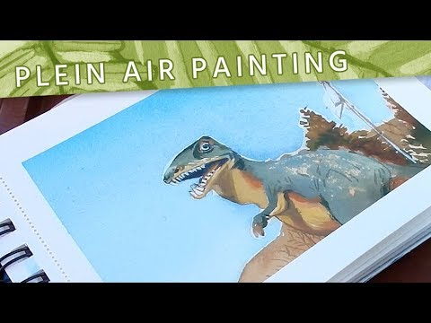 Plein Air Painting XV // Painting a Derpy Dinosaur in Gouache // Mary Sanche