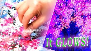 Glowing Pink Tree / 'Bubble Wrap' Painting Technique / Step by Step