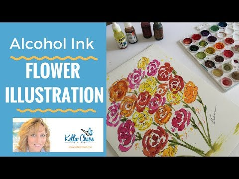 Alcohol Ink Flower Illustration Painting