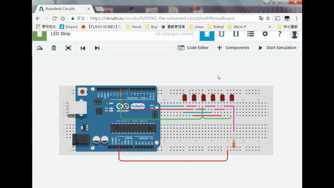 Using Autodesk Circuits to Simulate a Flashing LED Strip Driven by Arduino  UNO