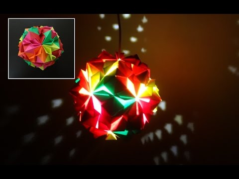 Paper Crafts (Diwali Decoration Ideas):Beautiful Multicoloured Origami Lantern: Christmas Decor