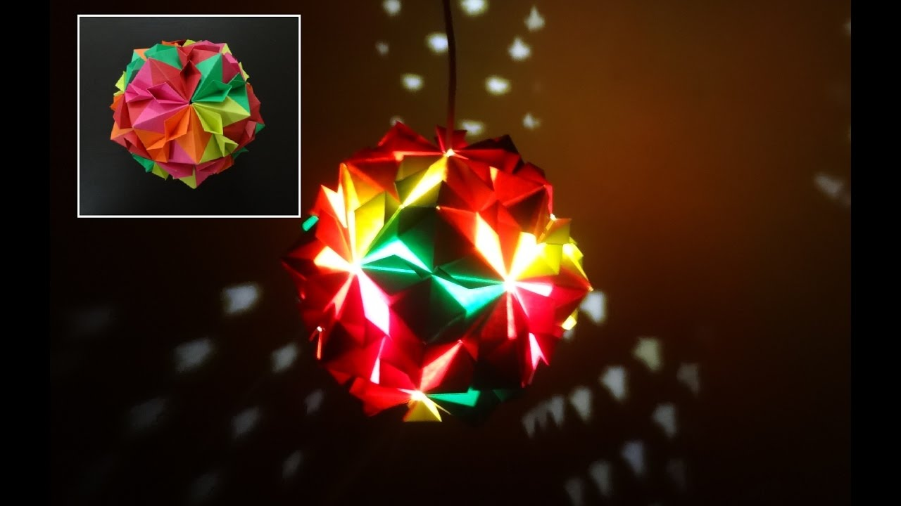 Paper Crafts (Diwali Decoration Ideas):Beautiful Multicoloured Origami  Lantern: Christmas Decor   YouTube