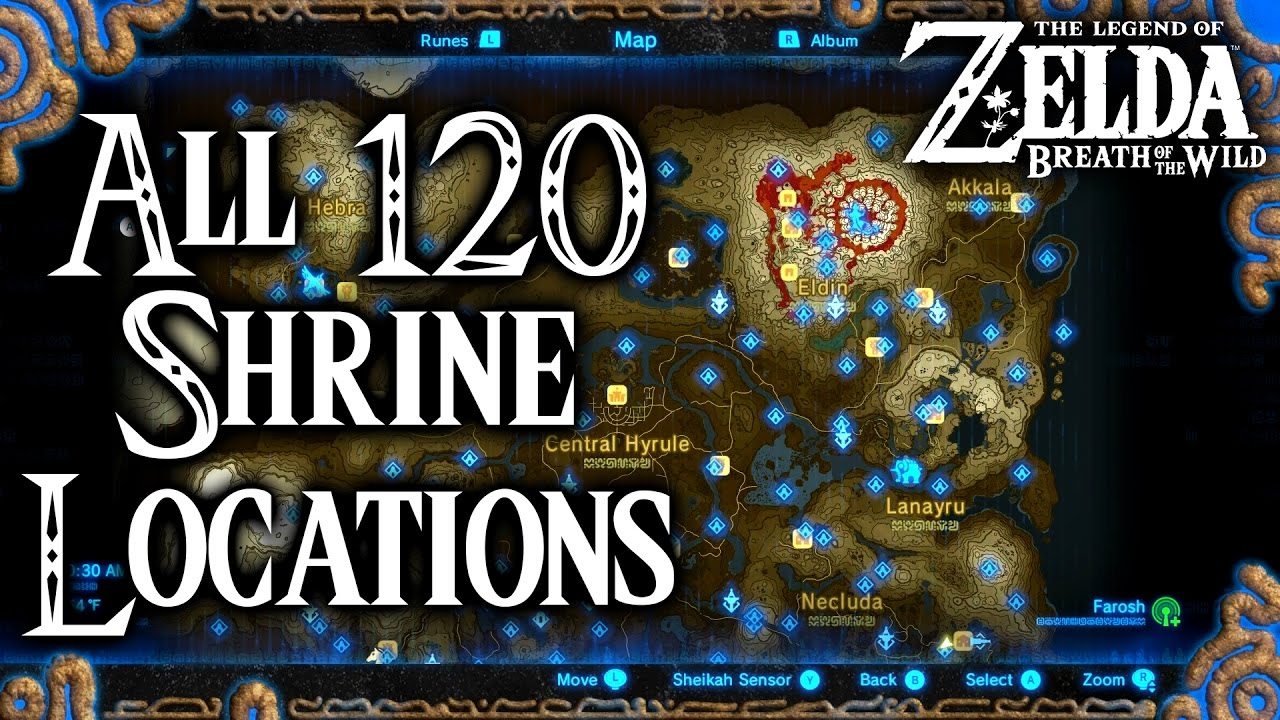 graphic about Printable Legend of Zelda Map named Breath of the Wild All 120 Shrine Destinations (Legend of Zelda)