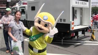 神奈川県警察シンボル・マスコット「ピーガルくん」とNEXCO東日本キャラクター「マナーティー」【大黒PA】