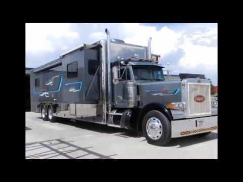 Video clip hay custom kenworth motorhome 86aefvtlsck xem for Peterbilt motor coach for sale