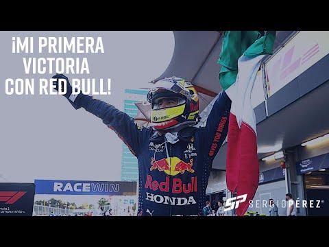 ¡Mi primera victoria con Red Bull, vamos con todo para seguir poniendo a México en lo más alto!