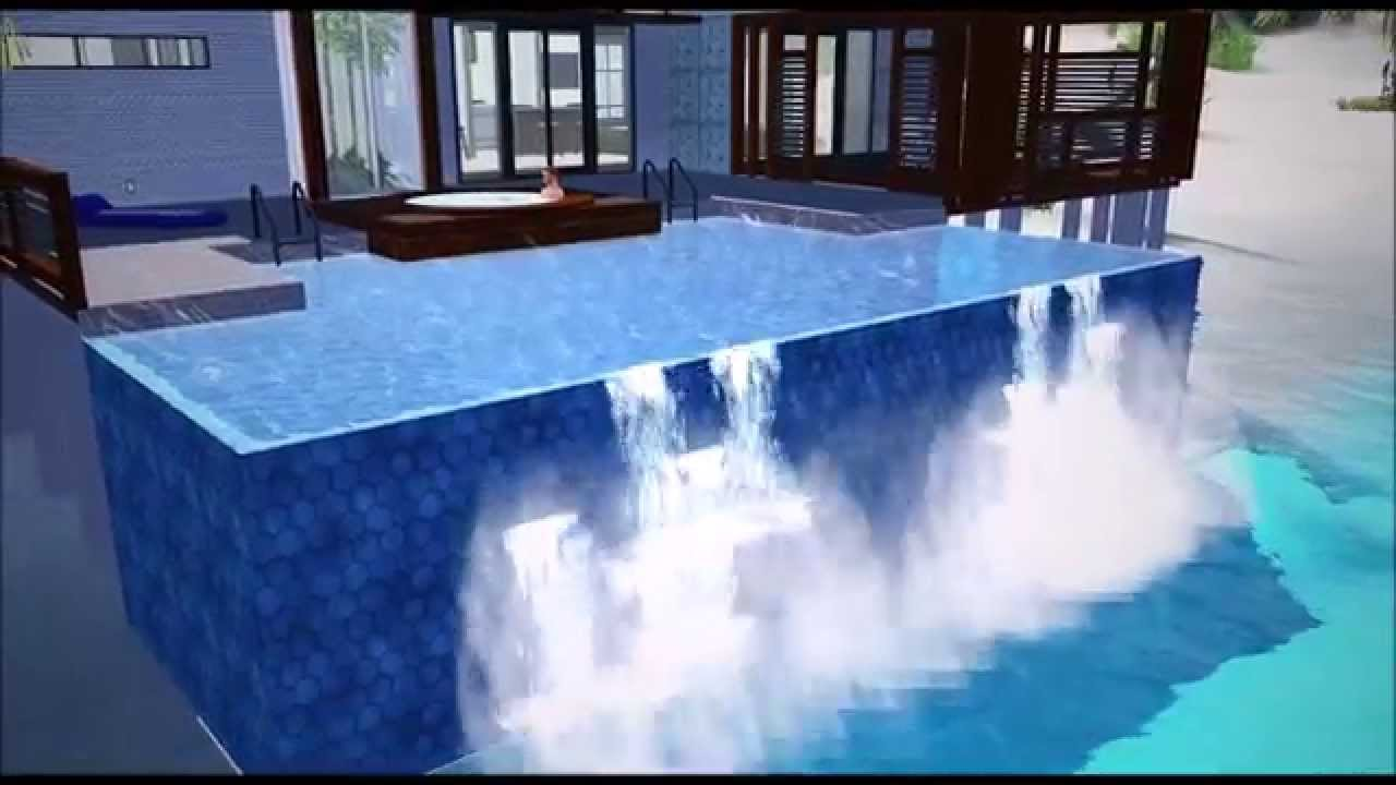 Infinity pool and waterfall effect