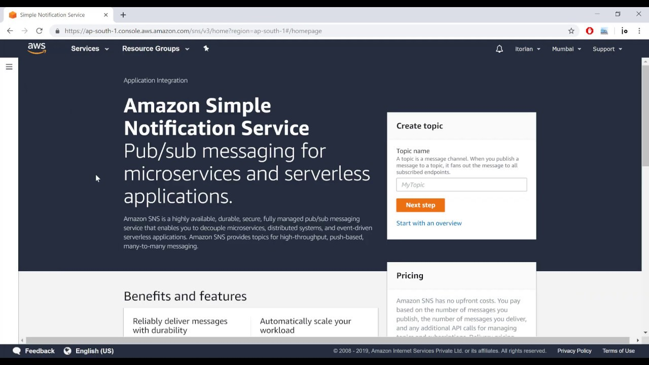 Using AWS Simple Notification Service (SNS) to send text messages using C#