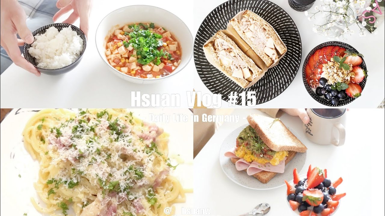 Hsuan Vlog 15   自煮日常-家常豆腐-義式培根蛋麵-蘋果鮪魚三明治-獵奇優格杯 一日兩餐 - YouTube