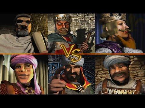 Richard + Friedrich + Philipp vs Saladin + Emir + Sultan | Stronghold Crusader KI Kämpfe (German)