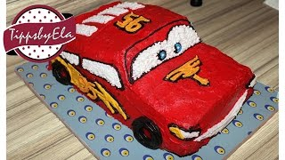 Cars Torte selber machen - Anleitung  Lightning McQueen für Kindergeburtstag