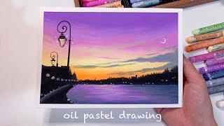 오일파스텔 초보, 가로등이 있는 강의 하늘 풍경 그리기…
