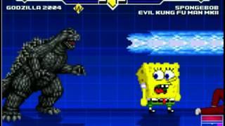 Godzilla 2004 vs. Evil Kung Fu Man & Spongebob Squarepants - MUGEN BATTLE!!!