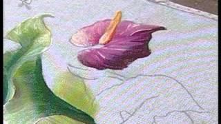 Pintando antúrio na cor lilás e aprenda mais passos sobre cores