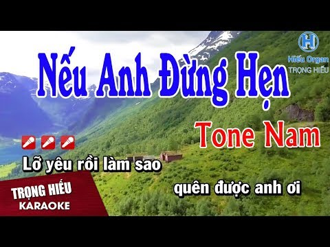Karaoke Nếu Anh Đừng Hẹn Tone Nam Nhạc Sống | Trọng Hiếu
