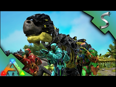 TEK TIER RAID! LASER REX ARMY VS METAL FORTRESS! TEK ARMOR & RIFLES - Ark: Survival Evolved