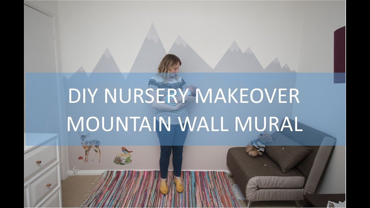 DIY How To Paint A Mountain Wall Mural For A Babys Nursery YouTube