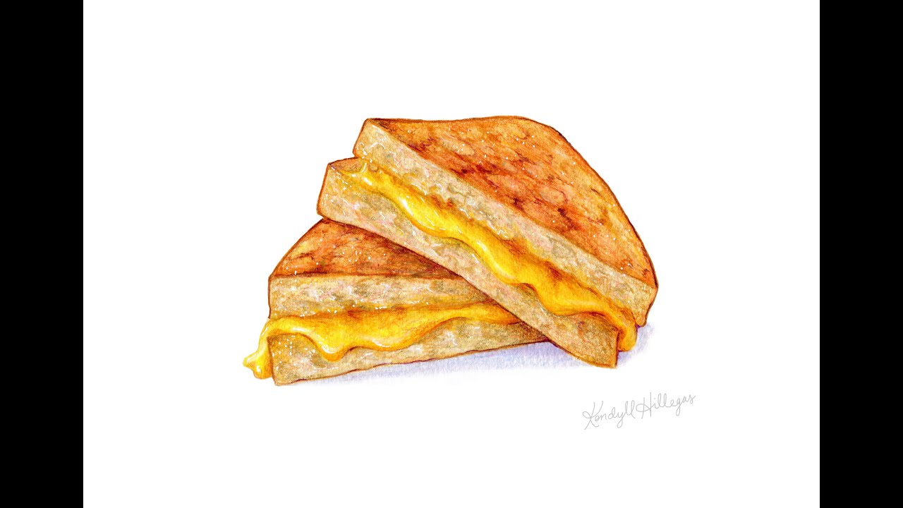 Food Illustration Speedpainting of a Grilled Cheese - YouTube