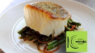 Healthy Pan-roasted Sea Bass Served With Asparagus And Mint Salad (stevescooking)