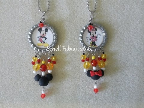 Bottle Cap Charm Tutorial - Mickey and Minnie
